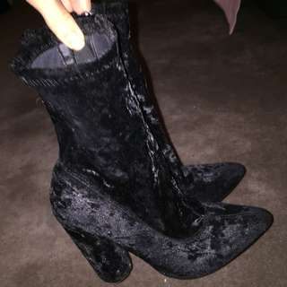 Black heeled sock boots size 7
