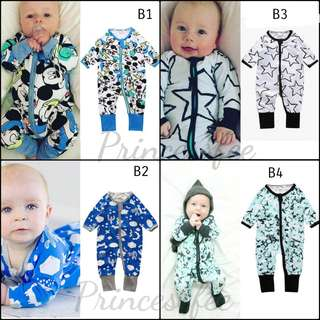 🚚 📮 Free Mail • (0-18M) Baby Newborn Bonds inspired Wondersuit Zip Up Zipper Zipped up Sleepsuit Footed Integrated mittens cotton-On Zip sleepsuits longsleeve Jumpsuit