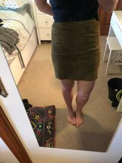 Suede khaki green skirt