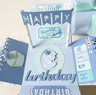 Happy birthday Explosion Box card in blue color