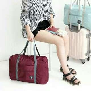 全新 小型旅行袋 可摺疊收藏方便易用 可裝上旅行箱拉桿 酒紅色現貨 包本地平郵
