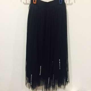 二手* 黑色珍珠 釘珠 紗裙 兩層紗
