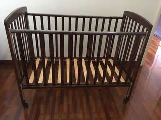 Wooden baby cot & coconut husk mattress