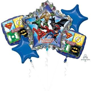 Anagram - Justice League Balloon Bouquet with Helium and Weight