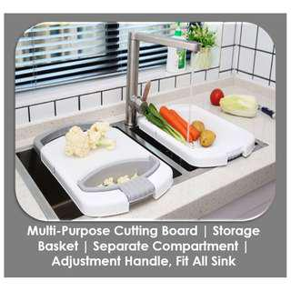 MULTI-PURPOSE CUTTING BOARD | STORAGE BASKET | SEPARATE COMPARTMENT | ADJUSTABLE HANDLE FIT ALL SINKS | 4 COLOURS