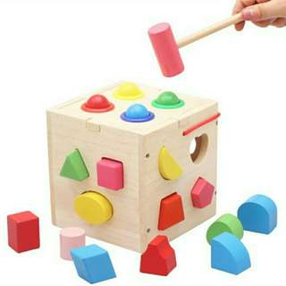 *FREE DELIVERY to WM only / Ready stock* Kids toy shape sorting wooden box as shown in design/color. Free delivery is applied for this item.