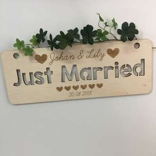 Personalized Wedding Car Sign Photo Sign