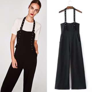 ZARA BLACK BUCKLED JUMPSUIT