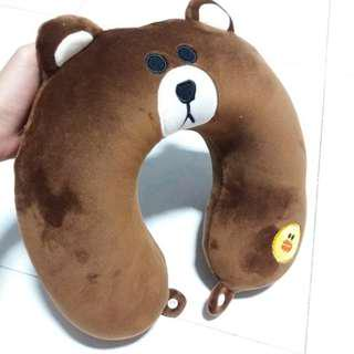 Brown bear u shape head pillow