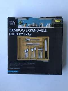 100% NEW BAMBOO CUTLERY TRAY