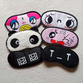 Lot of 6 Cute Playful Emotions Cartoon Sleeping Masks