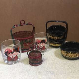 Miniature Chinese wedding baskets and cups.