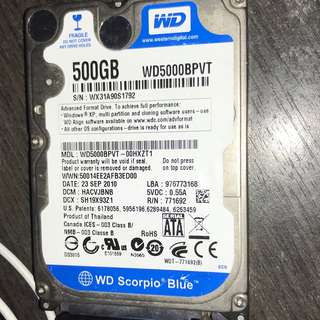 2.5 inch Western Digital Scorpio blue Drive 500GB