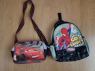 Cars bag and spiderman backpack