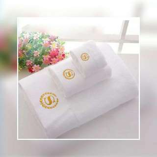 100% Set Of 3 Cotton Bath Towel Embroidered S Logo