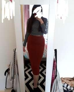 Long wool pencil skirt (Made in Korea)