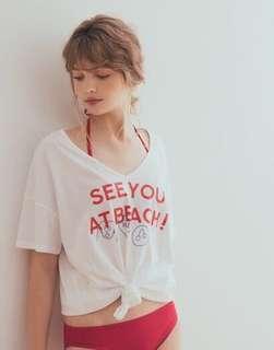 🚚 PAZZO 來去海邊吧塗鴉印標短袖T恤