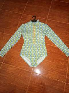 One Piece Swim Wear Color Blue Green and Yellow