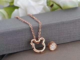 18K玫瑰金鑽石米奇頸鏈吊墜