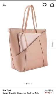 Large Double-zippered Grained Tote by Zalora