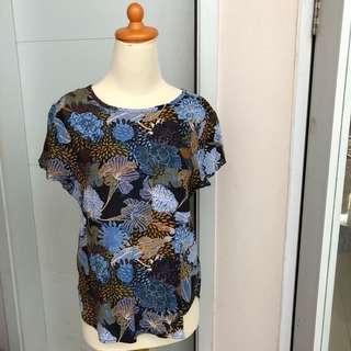 Hnm blouse atasan hm biru blue floral