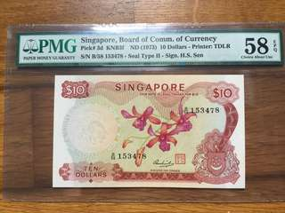 Singapore Orchid $10 Ink Error AU note