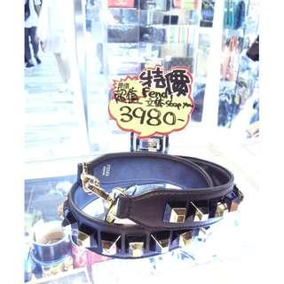 Fendi Black Leather / Gold Silver 3D Strap You for Bag Strapyou 芬迪 黑色 牛皮 皮革 / 金色 銀色 立體 柳釘 鉚釘 鍋釘 手袋 袋 肩帶 揹帶