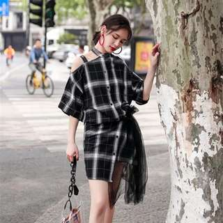 Minimei追加款✪韓系韓版百搭休閒 夏季新款有造型裙子復古短袖連衣裙襯衫裙中長款
