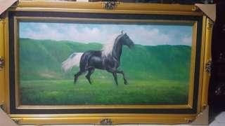 LUKISAN KUDA LAMBAG GAGAH GREY HORSE LANDSCAPE BEAUTIFUL
