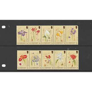 Guernsey stamp Flower set stripe of 5 each Presentation Pack Year Issue 2000 Free Mailing