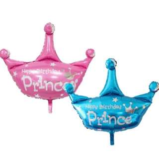 HAPPY BIRTHDAY PRINCE / PRINCESS CROWN BALLOON 3 ft Pink / Blue