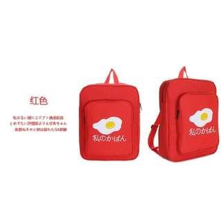 🚚 原宿人氣荷包蛋後背包(紅色)方形潮流大容量後背包 學生包 外出包 出國包 ❤👍