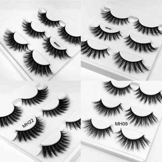 (PO) 3Pairs Natural False Eyelashes Fake Lashes Long Makeup 3D Mink Lashes