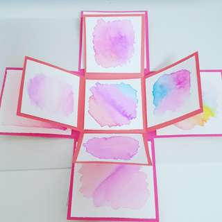 Pink watercolours explosion box
