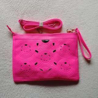 Neon Pink Classic Modern Cut Envelope Sling / Shoulder / Hand Bag