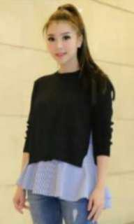 ZR knit top warna hitam, 2 pieces (inner n outer)