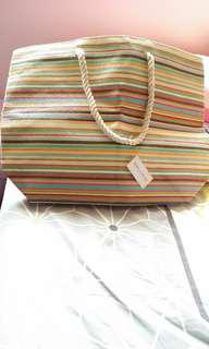Striped straw tote with rope handles