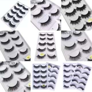 (PO) 5 Pairs Thick Falsw Eyelashes Black Long 3D Mink Eyelashes