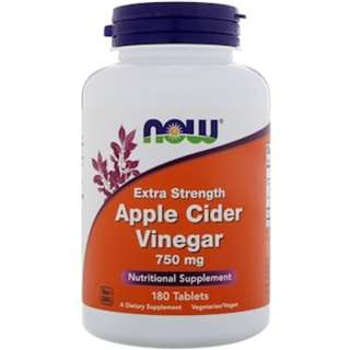 Now Foods, Apple Cider Vinegar, Extra Strength, 750 mg, 180 Tablets