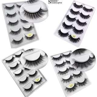 (PO) 5 Pairs Eyelashes 3d Mink Lashes Natural Long