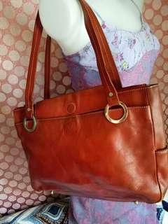 Vintage Marco Polo Chesnut Brown Leather Tote Bag