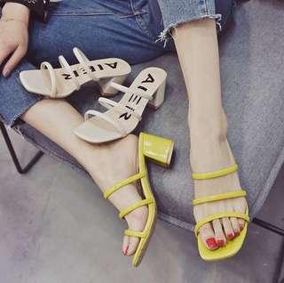 Strap midi heels