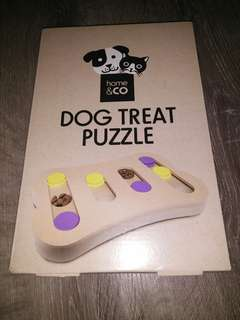 Wooden dog treat puzzle toy