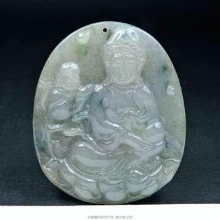 珍珠林~童子拜觀音墬~A貨冰種緬甸翡翠玉 #362
