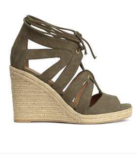 H&M green tie wedges shoes