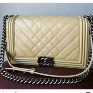 👉MURAH - CHANEL Boy 28 Nude Patent#tHe