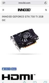 GTX 750Ti GDDR5 2GB OC (Inno3D)