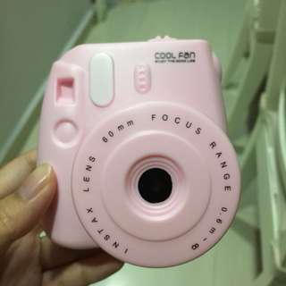 Baby pink instax mini Polaroid camera portable travel fan