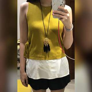Plains and Prints Ross SL Top Mustard