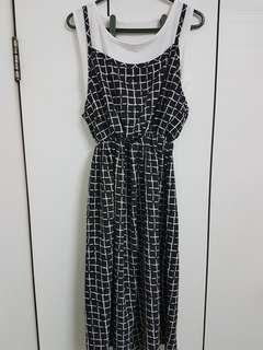 🚚 全新黑白格子長版洋裝